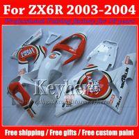 Wholesale kawasaki lucky - Customize Kawasaki fairing Ninja ZX6R 2003 2004 high grade red white LUCKY STRIKE fairings body kits ZX-6R 03 04 ZX 6R with 7 gifts xh37