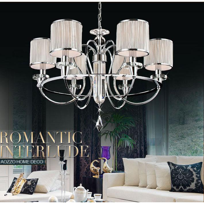 Discount European Modern 28 6 Lights Living Room Chandeliers Restaurant Chain Pendant Lamp Dining Bar Counter Polished Chrome Light
