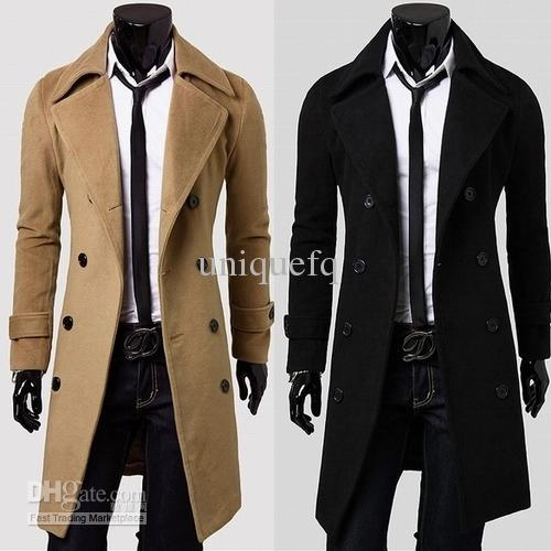 Discount Men Long Wool Blends Trench Coat Turn Down Collar Double ...