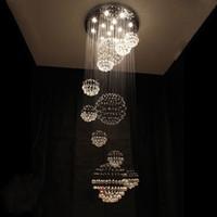 Wholesale Spiral Glass Pendants Lights - H200cm New Spiral Sphere Crystal Pendant Light Ceiling Lamp Chandelier Lighting