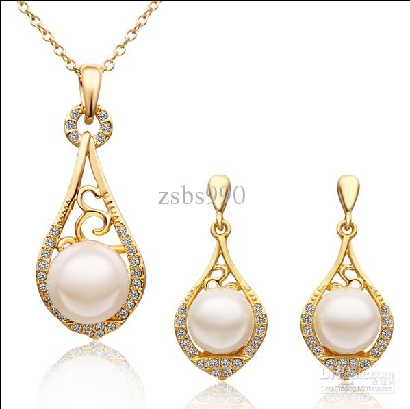 2018 Fashion Jewelry Sets 18k Gold Plated Shell Pearl Amp Crystal
