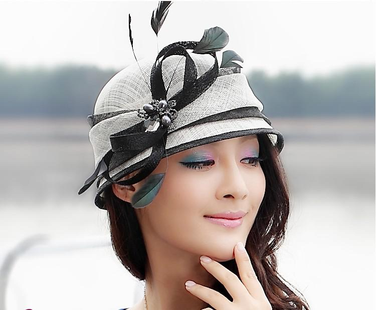 ba62445e510ca Women Hat For Church Fashion Dress Hat Winter Dress Sinamay Hat Formal Dress  White With Black Color Bow Ribbon With Feathers Panama Hat Trilby From ...