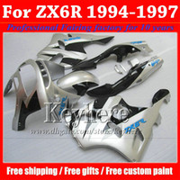 Wholesale 94 ninja plastics resale online - ABS plastic fairing kit for KAWASAKI Ninja ZX6R white black high grade body work set ZX R with gifts Rf1