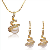 Wholesale Drop Shell Pearl - Fashion Jewelry Sets 18K gold plated shell pearl necklace & drop earrings wedding gift free shipping 5set lot