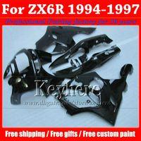 Wholesale Kit Fairings Kawasaki Zx6r 1995 - Customize motorcycle fairings for KAWASAKI Ninja ZX6R 1994 1995 1996 1997 all glossy black fairing kit ZX 6R 97- 94 with 7 gifts Rf2