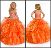 black angels pictures - Perfect Angels New Arrival A B rhinestones bodice organge kids pageant dresses Flower Girl Dresses