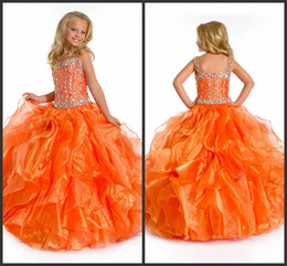 Angels pAgeAnt dress online shopping - Perfect Angels New Arrival A B rhinestones bodice organge kids pageant dresses Flower Girl Dresses