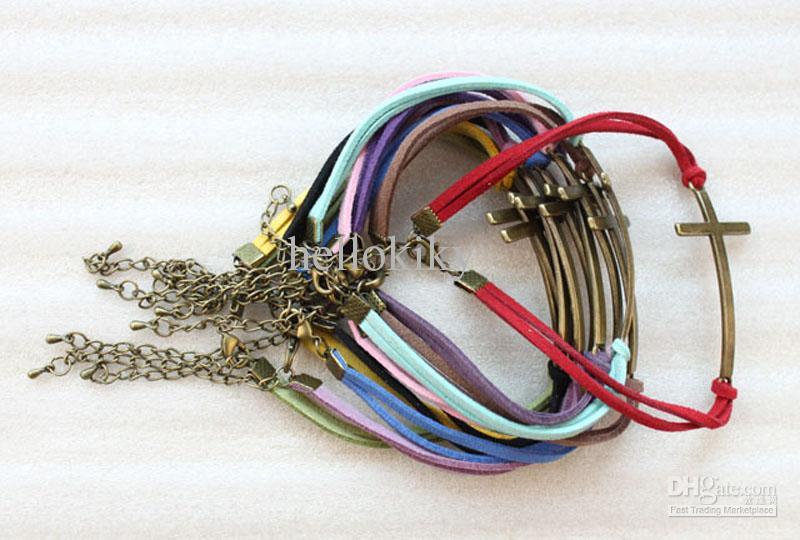 10 Stks Retro Stijl Gemengde Kleuren Velvet Antiqued Bronze Cross Link Armbanden # 23507