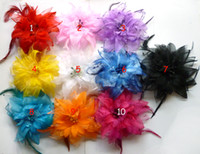 Wholesale Flower Feather Hair Accessories - 2013 new Children's Hair Accessories Feather baby christmas flower headwear clip baby Hair Clips 10 color 120 pcs lot HY1001