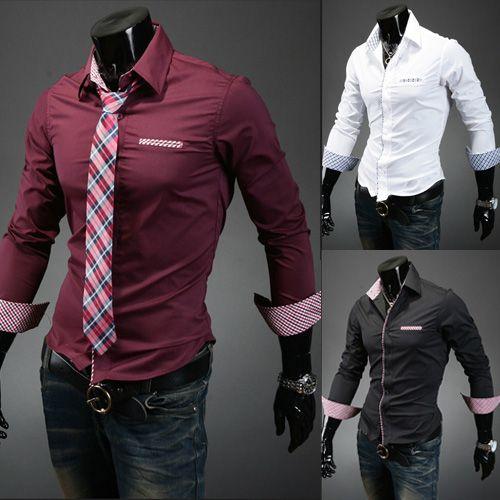 2017 Korean Shirt Men Check Shirt Fitted Shirts For Men Business ...