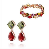 Wholesale Earrings Charming Drop Golden - Fashion Jewelry Sets 18K gold plated Austrian Crystal Charm Bracelet & drop earrings Swarovski Elements wedding gift free shipping