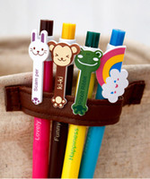 Wholesale Design Pens Cheap - Cheap Writing Cute Ballpoint Pens Lovely Animal Cartoon Ball Point Pen Bowling Design Press Telescopic Style Cheap Colorful Pens lovely Gift