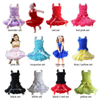Wholesale Girls Pettiskirt Sets - Retail Girls Tutu Skirt Set Children Baby Solid Color Soft Chiffon Pettiskirt And Matching Ruffle Vest Tops Free Shipping 1 SET