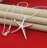 Wholesale starfish 925 silver jewelry - NEW top silver jewelry Free shipping 925 Sterling Silver fashion charm Starfish PENDANT snake chain cute necklace