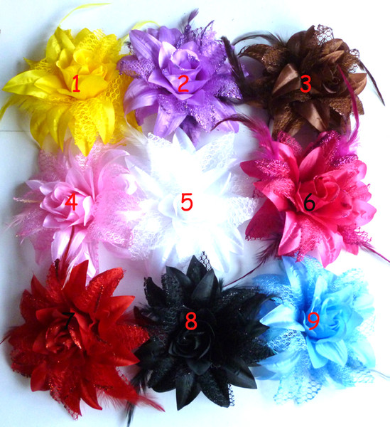 2013 new Children's Hair Accessories Feather baby christmas big flower headwear clip baby girls Hair Clips 9 colors 120 pcs lot HY1003