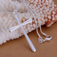 Wholesale Cheap Cross Charms - NEW cheap silver jewelry Free shipping 925 Sterling Silver fashion charm cross pendant snake chain necklace