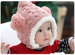 $enCountryForm.capitalKeyWord Canada - New Warm Fleece Winter Caps Baby Twisted Double Ball Wool Hat Child Ear Protect Velvet Cap Infants Girls Boys Earmuffs Hats 10pcs 1487