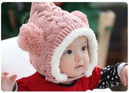 Wholesale Double Ball Wool Cap - New Warm Fleece Winter Caps Baby Twisted Double Ball Wool Hat Child Ear Protect Velvet Cap Infants Girls Boys Earmuffs Hats 10pcs 1487
