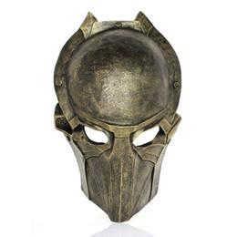 Wholesale alien vs predator mask - 10pcs EMS Model Alien VS Predator Warrior Deluxe Movie Mask Handmade Sliver And Bronze AVPR Resin Mask Freeshipping