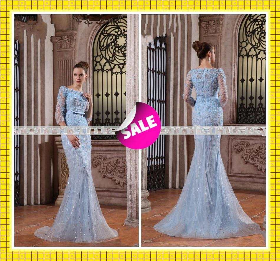 Compre Elie Saab Inspirado Vestidos De Azul Boda Sheer De Gossip ...