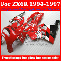zx6r 1996 verkleidungskit großhandel-ABS Kunststoff Verkleidung Kit für KAWASAKI Ninja ZX6R 1994-1997 hochwertige rot schwarz Körper Arbeit Set ZX 6R 97 96 95 94 mit 7 Geschenke Rf12
