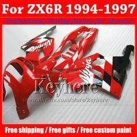 ingrosso zx6r kit di ferramenta 1996-Kit carena in plastica ABS per KAWASAKI Ninja ZX6R 1994-1997 set di lavoro corpo nero rosso di alta qualità ZX 6R 97 96 95 94 con 7 regali Rf12