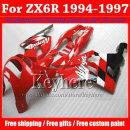 Wholesale 94 97 Kawasaki Zx6r Fairings - ABS plastic fairing kit for KAWASAKI Ninja ZX6R 1994-1997 high grade red black body work set ZX 6R 97 96 95 94 with 7 gifts Rf12