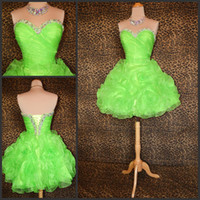 Wholesale Lime Green Short Ball Gown - Fancy Puffy Homecoming Dresses Crystals Beaded Sweetheart Neckline Floral Accent Lace-up Lime Green Organza Short Prom Party Wear 2016