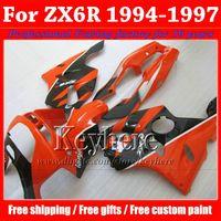 94 plásticos ninja al por mayor-Personalizar carenados de la motocicleta negro rojo para KAWASAKI Ninja ZX6R 1994 1995 1996 1997 kit de carenado de plástico ZX 6R 94-97 con 7 regalos Rf20