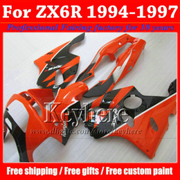 Wholesale Kawasaki Zx6r Fairing 1995 - Customize red black motorcycle fairings for KAWASAKI Ninja ZX6R 1994 1995 1996 1997 plastic fairing kit ZX 6R 94- 97 with 7 gifts Rf20