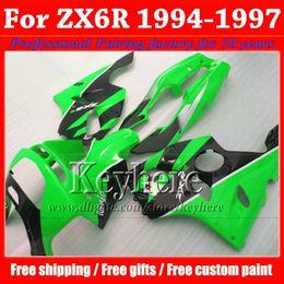Wholesale 1994 Kawasaki Zx6r Fairing Kits - Free shipping fairing body kit for KAWASAKI green black Ninja ZX6R 1994 1995 1996 1997 motobike fairings set 94-97 ZX 6R with 7 gifts Rf22