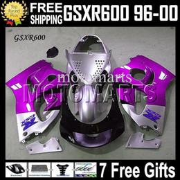 Wholesale 98 Gsxr Fairings - 7giftsFor SUZUKI GSX-R600 96-00 96 97 98 99 00 GSX R600 Customized MS#3336 GSXR 600 GSXR600 1996 Purple silvery 1997 1998 1999 2000 Fairing