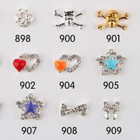 Wholesale Dangle Jewelry Nail Art - Fashion New Nail Art Metal Nail Art Rhinestone Skulls 100pcs lot Nail Tips Dangle Jewelry Alloy Nail Art Decoration The Adornment