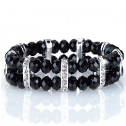 Wholesale Costume Jewellery Designs - Black Facet Beads Bracelet Clear Crystal Black Bead Stretch Design Costume Jewellery