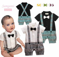 Wholesale Down Romper - Baby Boy onesies Gentleman Plaid One Piece Romper With Tie Kids Clothes