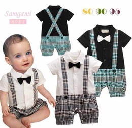 Wholesale Down Romper - Baby Boy onesies Gentleman Plaid One Piece Romper With Tie Kids Clothes
