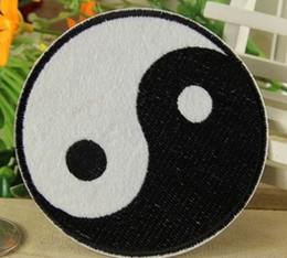 Patchs chinois en Ligne-En gros ~ 10 Pièces Chinois Kung Fu Tai Ji (7 x 7 cm) Punk Patch Brodé Applique Fer Sur Patch