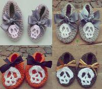 Wholesale Shop Cheap Kids Shoes - 10%off 2015 New styles! Skull bow square mouth newborn crochet shoes cheap shoes shoes shop baby wear kid shoes shoes online 6pair 12pcs