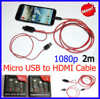Wholesale Micro Usb Hdmi Adaptor - 1080P 2meter Micro USB MHL to HDMI Adapter Cable HDTV Adaptor Cable for Samsung Galaxy Note II N7100 Galaxy S3 i9300 + free shipping