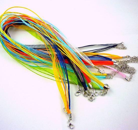 JLB Groothandel 42cm 100 stks Mode Verstelbare DIY Zijde Organza Lint Voile Waxed Ketting Cords met Kreeft Clasps Sieraden Bevindingen RB026