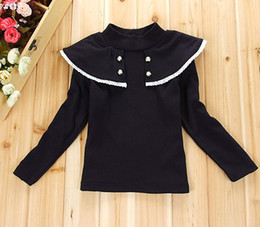 Wholesale Long Sleeved Shirts Shawl - Korean Children Girls Autumn Shawl-Collar Long Sleeve Navy Red T Shirts Princess Girl Casual Tops Shirt B1216