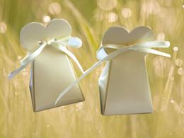 Wholesale White Favour Boxes - Free shipping,50pcs lot, Bride dress favor boxes, wedding favors, favour boxes, candy boxes