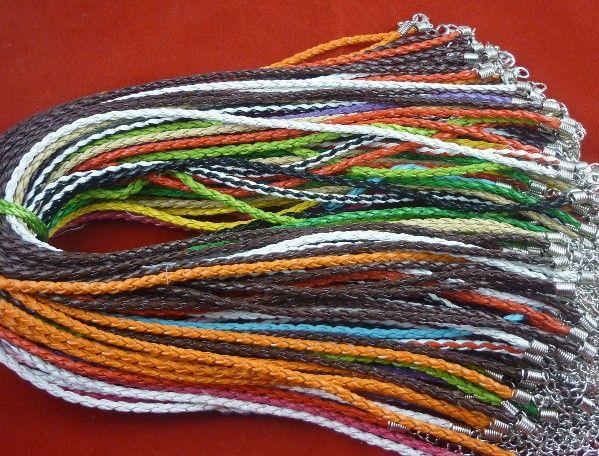 JLB 100 adet / grup 3mm 45 cm Toptan Moda DIY Istakoz Klipsler Ile DIY Örgülü PU Deri Kolye Kordonları DIY Malzemeleri Aksesuarları Ücretsiz Kargo