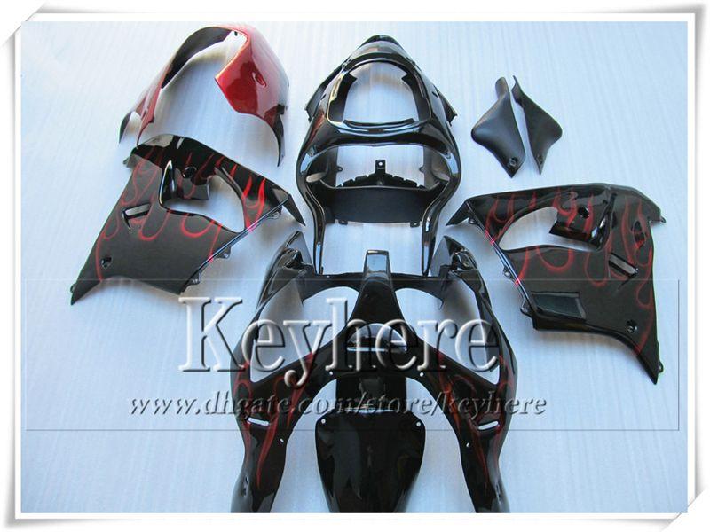 GROSSES SOLDES ! flamme de vin rouge en noir carénage KAWASAKI ZX 9R 00 ZX9R 01 Ninja ZX-9R 2000 2001 kit de carénage de moto personnalisé avec 7 cadeaux sf71