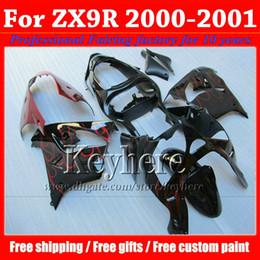 Wholesale Custom Black Zx9r - HOT SALE ! wine red flame in black KAWASAKI fairing ZX 9R 00 ZX9R 01 Ninja ZX-9R 2000 2001 custom motorcycle fairings kit with 7 gifts sf71