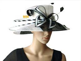 Wholesale Wedding Dress Elegant Hat - NEW design elegant big Ladies Church Sinamay hat for wedding Formal dress Kentucky derby Races party