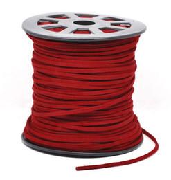 Wholesale Wholesale Leather Suede Necklace Cords - 1 Roll(95m) 2.5mm*1.5mm Velvet leather fabric rope suede cashmere necklace cords DIY Materials Accessories Free shipping