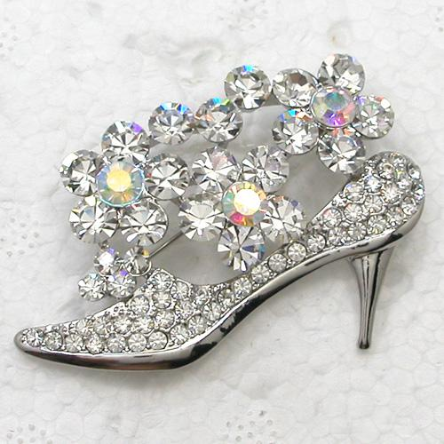 Wholesale Glisten Clear Crystal Rhinestone Brooch Pin Shoes Flower Bridesmaid Wedding Party Prom Clothing ornaments Fashion jewelry C2136