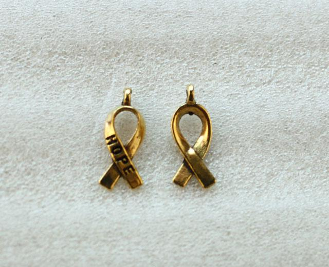 Antiqued Gold Cancer Awareness Hope Lint Charms A5104G