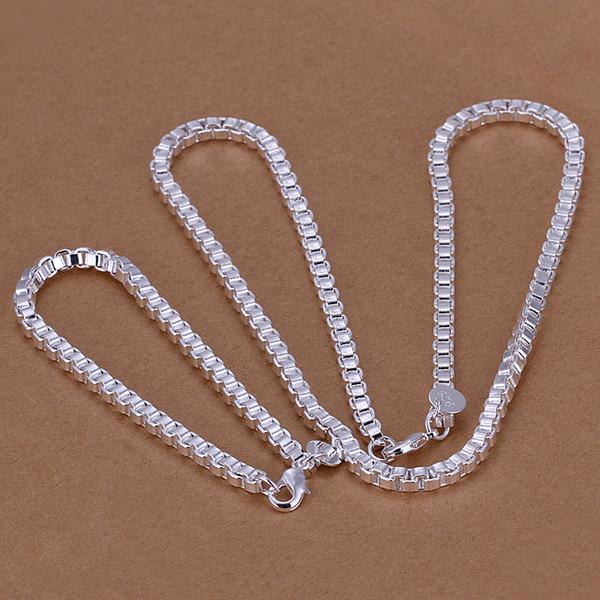 50% OFF новый стерлингового серебра 925 комплект ювелирных изделий 4 мм 20 дюймов ожерелье+4 мм 8 дюймов браслет комплект ювелирных изделий 1 компл.